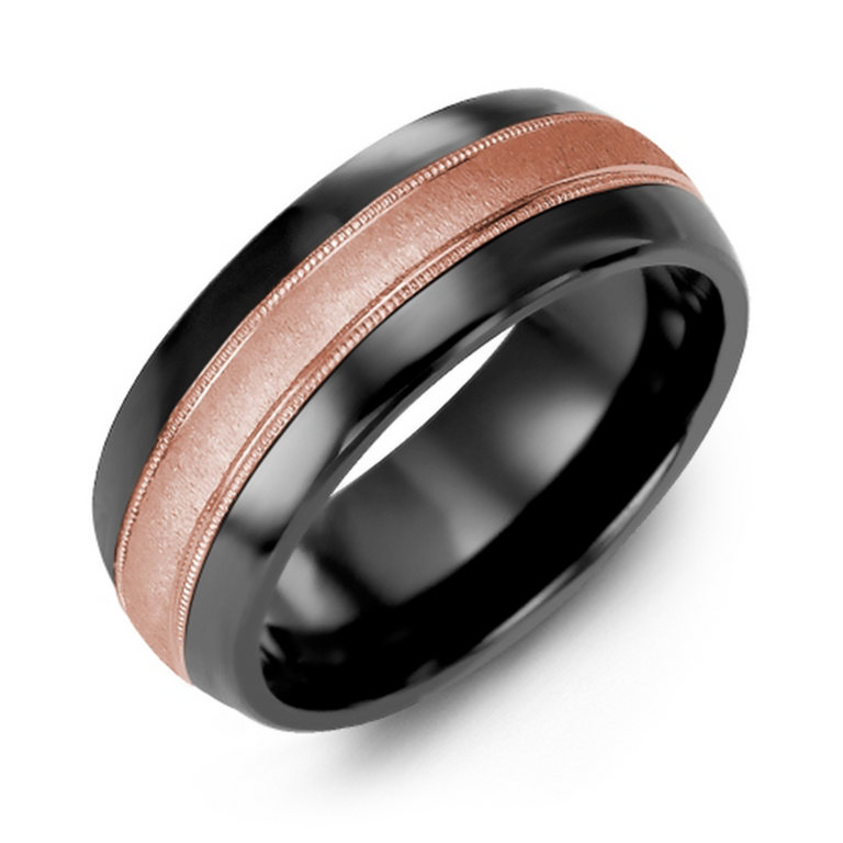 Domed wedding band with brushed metal inlay and milgrain edge - 6 metal options available