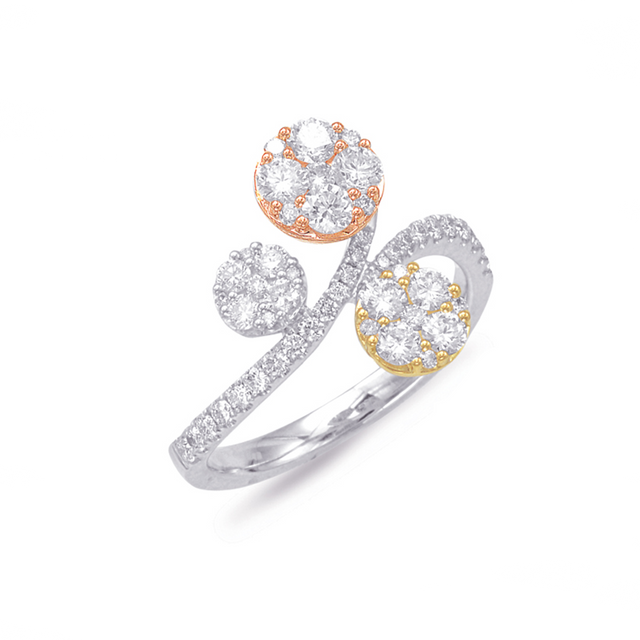 Rose, Yellow, White Gold Diamond Ring