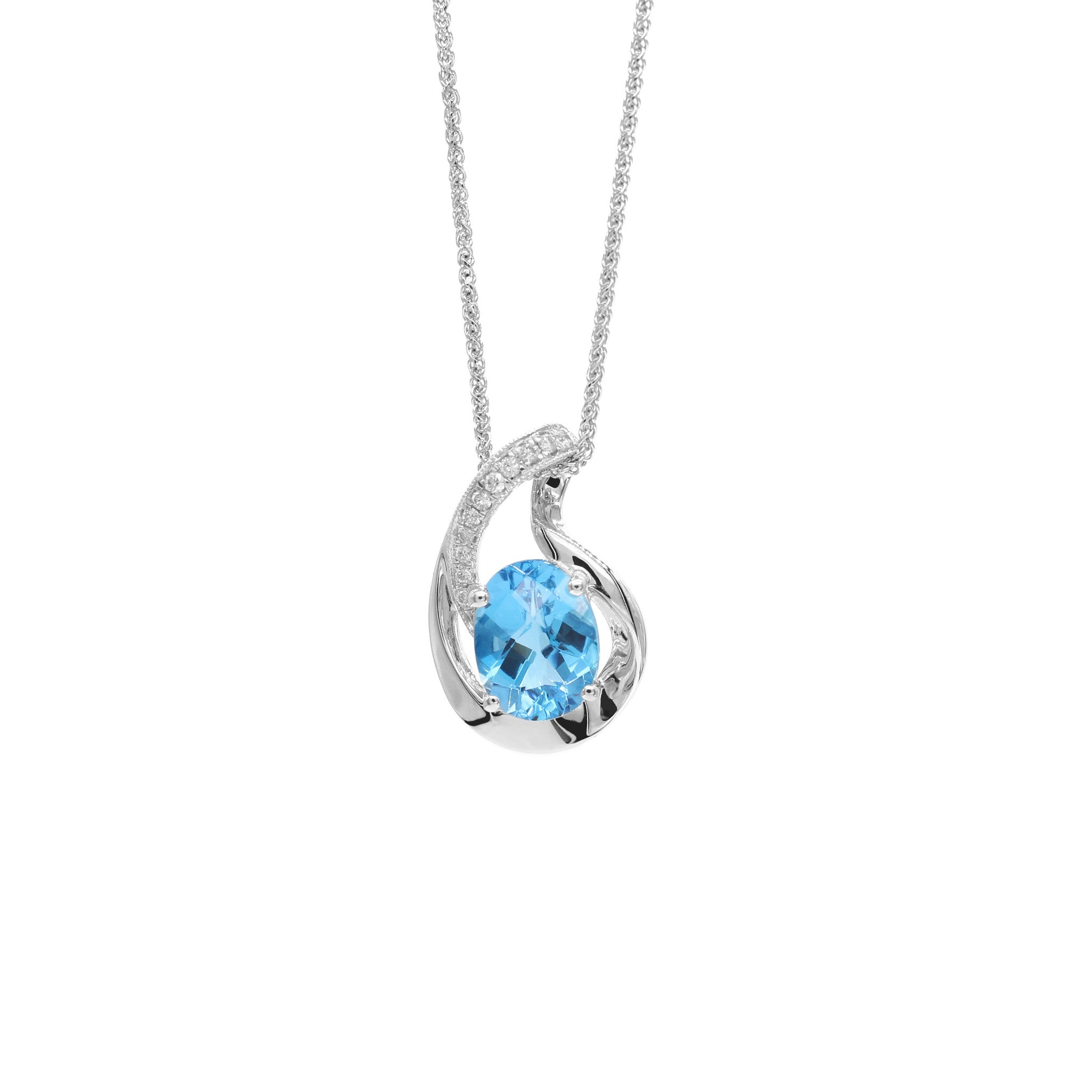 blue p silver and pendant topaz chain