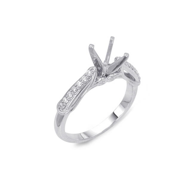 14kt White Gold Semi-twisted Engagement Ring