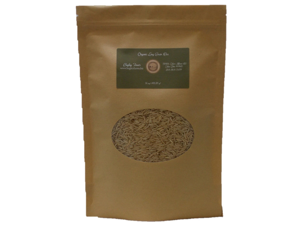 Bagley Farm's Organic Long Grain Brown Rice 16 oz Certified Organic