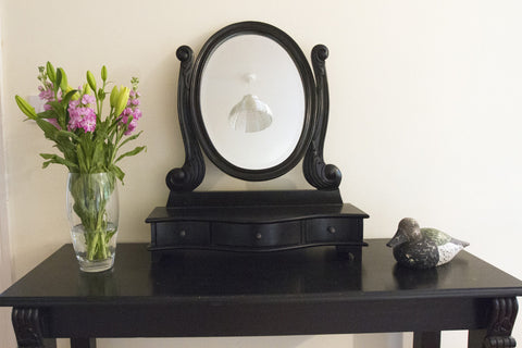 Heath Oval Mirror Black Brush
