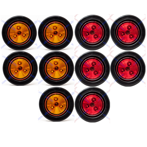 "2"" Round 3 LED Light Trailer Side Marker Clearance Grommet&Plug - 5 Amber+ 5 Red"