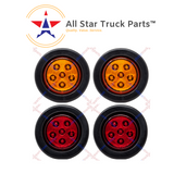 "2.5"" Round 6 LED Light Truck Trailer Side Marker Clearance Kit 2 Red & 2 Amber"