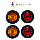 "2.5"" Round 12 LED Light Truck Trailer Side Marker Clearance Kit 2 Red & 2 Amber"