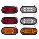 "2 WHITE + 2 RED + 2 AMBER : 6"" Oval 10 LED Stop Turn Tail Lights Truck Trailer - All Star Truck Parts"