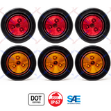 "2"" Round 3 LED Light Trailer Side Marker Clearance Grommet&Plug - 3 Amber+ 3 Red"