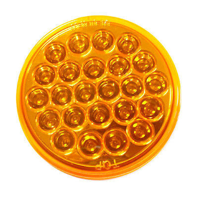 "4"" Inch Amber 24 LED Round Stop/Turn/Tail Truck Trailer Light & 3 Wire Plug- 2pc - All Star Truck Parts"