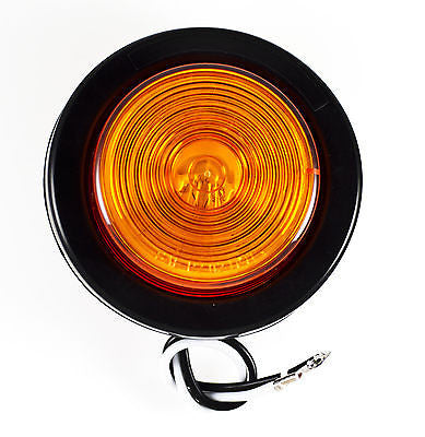 "2"" Inch Round Side Marker Clearance Truck Light Amber w/ Grommet & Pigtail - All Star Truck Parts"