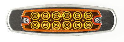 Amber 12 LED Sealed Side Marker Clearance Light Fish Shape Truck Trailer Brushed Stainless Steel Bezel 12V - All Star Truck Parts