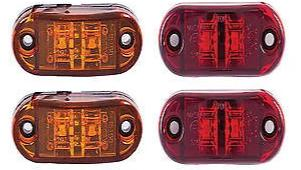"2x Amber 2x Red Clearance 2.5"" 2-LED Oval Side Marker Lamp Light Truck Trailer - All Star Truck Parts"