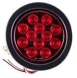 "4"" Red 12 LED Round Stop Turn Tail Truck Light with Grommet & Pigtail - All Star Truck Parts"
