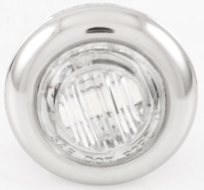 "5- 3/4"" WHITE 3 LED CLEARANCE SIDE MARKER BULLET LIGHTS W. CHROME RING TRAILER - All Star Truck Parts"