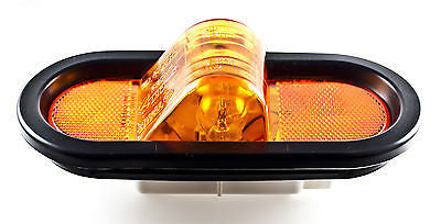 "AMBER 6"" OVAL MID-SHIP TURN TRUCK TRAILER LIGHT WITH GROMMET &  PIGTAIL KIT - All Star Truck Parts"