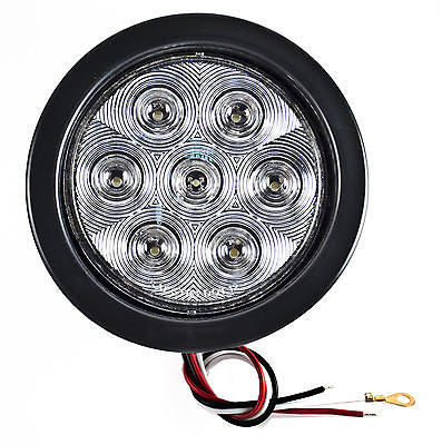 "4"" Inch 7 LED Round Stop/Backup/Reverse Truck Tail Light Kit - 4 Red + 2 White - All Star Truck Parts"