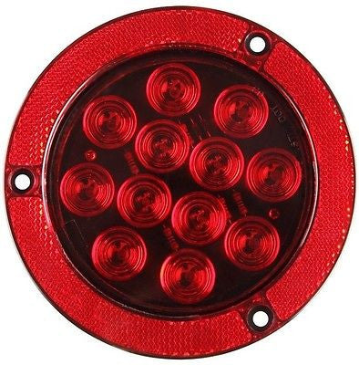 "4"" Red 12 LED Round Stop/Turn/Tail Truck Light Reflex Flange Mount- Qty 2 - All Star Truck Parts"