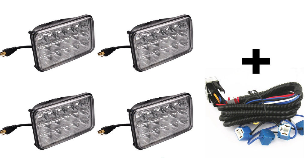 "4 - 4x6"" 15 LED Headlights & Ceramic Plug Harness H4656/4651 High/Low Beam 45W - All Star Truck Parts"