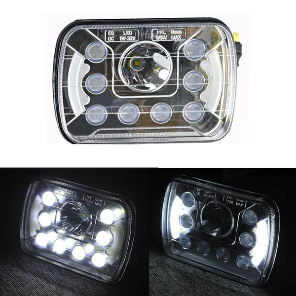 "7x6"" inch CREE DRL Replace H6054 6014 LED Headlights High/Low Beam 55W - Qty 2 - All Star Truck Parts"