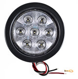 "4"" Inch 7 LED Round Stop/Backup/Reverse Truck Tail Light Kit - 2 Red + 2 White - All Star Truck Parts"