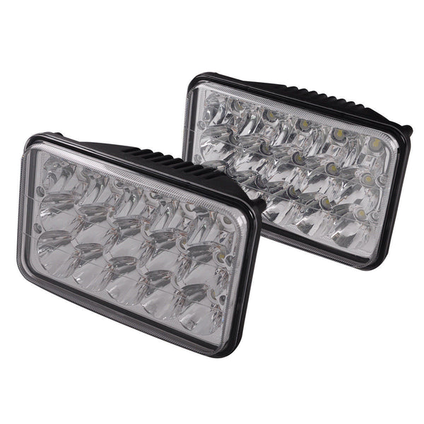 "4x6"" inch 15 LED Headlights CREE HID Replace H4656/4651 High/Low Beam 45W- Pair - All Star Truck Parts"