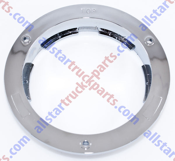 "4"" Round Chrome Flange (ABS) Flush Mount For Standard 4"" Stop Tail Turn Lights - All Star Truck Parts"