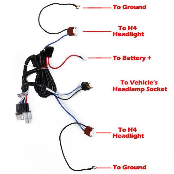 h4 wiring harness wiring diagram \u2022 h4 wiring harness 2 headlight h4 headlamp light bulb ceramic socket plugs relay wiring rh allstartruckparts com h4 wiring harness for motorcycles h4 wiring harness diagram
