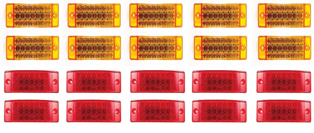 "6"" 21 LED Sealed Side Marker Clearance Light Trailer Truck - 10 Red & 10 Amber - All Star Truck Parts"