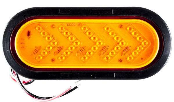 "6.5"" Inch Oval Amber Sequential Arrow Mid Turn Light 35 LEDs Trailer w/ Grommet - All Star Truck Parts"