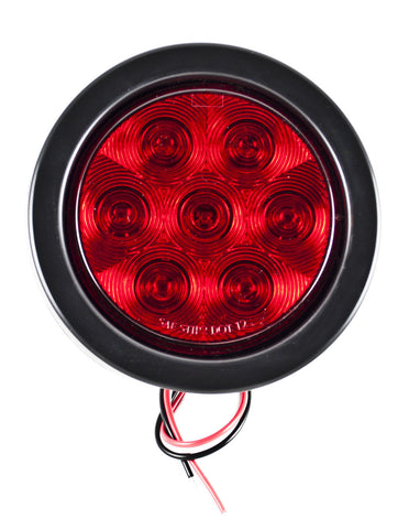 "4"" Inch Red 7 LED Round Stop/Turn/Tail Truck Light with Grommet & Pigtail - All Star Truck Parts"