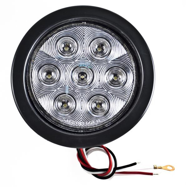"4"" Inch White 7 LED Round Backup/Reverse Truck Light w/ Grommet & Pigtail -Qty 2 - All Star Truck Parts"