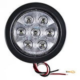 "4"" Inch White 7 LED Round Backup/Reverse Truck Light w/ Grommet & Pigtail - All Star Truck Parts"