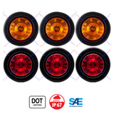 "2.5"" Round 12 LED Light Truck Trailer Side Marker Clearance Kit 3 Red & 3 Amber"