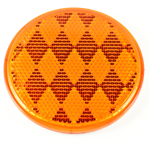 "3"" Inch Round Amber Reflector Adhesive Bike, Trailer, Truck, Boat, Mailbox-Qty 1"