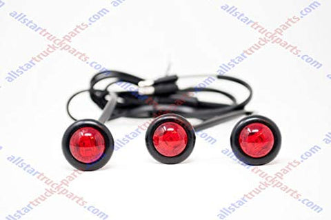 "Red LED ID Identification Light Harness of 3 x 3/4"" LED Marker & Clearance Lamps - Total of 9 LED's (3 LED's in each Light) 3/4"" ID Light, 3-Unit Harness"