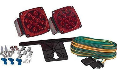 "Pair LED Submersible Tail Brake Stop License Lights Kit Trailer Boat RV Over 80"" - All Star Truck Parts"