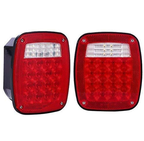 LED Universal Stud-mount Combination Tail Lights Red License Illuminator on Left Truck Trailer RV KL-25104 / 25104L 1 Pair LED Jeep Lights - All Star Truck Parts