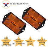 "[ALL STAR TRUCK PARTS] Square Red/Amber 3-LED Marker Light Reflectorized Lens Surface Mount, 2-4/5"" Rectangular Truck Trailer Towing Led Light Side Reflector Reflex Accessories"