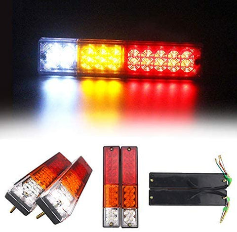 [ALL STAR TRUCK PARTS] 20 LED Trailer Tail Lights Bar Waterproof, DC12V Turn Signal and Parking Reverse Brake Running Lamp for Car Truck Red Amber White (2 Pack)