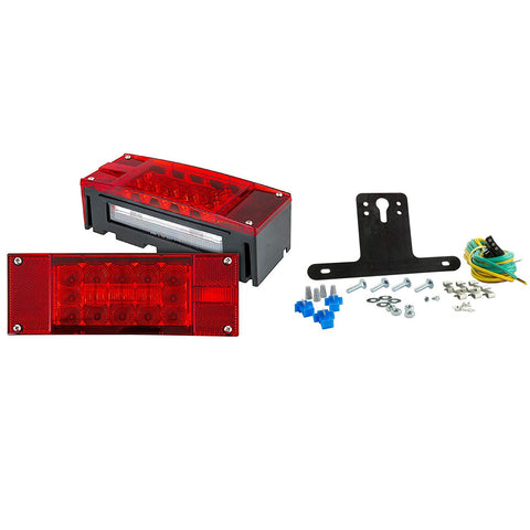 12V LED Low Profile Submersible Rectangle Trailer Light Kit, Sealed PREMIUM Waterproof Boat Trailer Stop Turn Tail License Plate Brake Running Lights 25ft 4pin Wiring Harness & Bracket - All Star Truck Parts