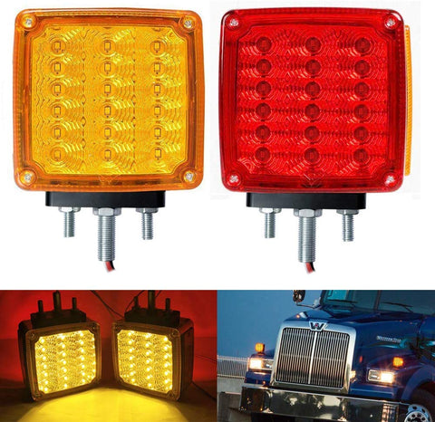 2pc Amber/Red 39 LED Double Face Stud Mount Pedestal Fender Stop Turn Tail Light