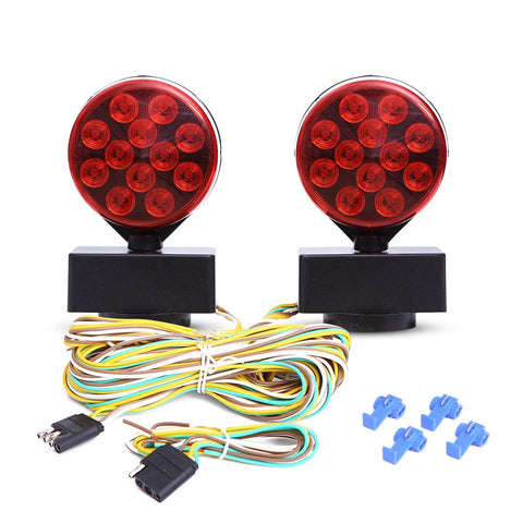 12V LED Magnetic Towing Light Kit for Boat Trailer RV Truck -Magnetic Strength 55 Pounds DOT Certified Front Amber/Back Red 100,000 Hours LED Life!