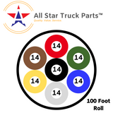 [ALL STAR TRUCK PARTS] Heavy Duty 14 Gauge 7 Way Conductor Wire RV Trailer Cable Cord Insulated Copper - All Star Truck Parts