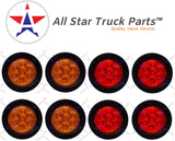 "8 PC 2.0"" Round LED Light Side Marker Clearance [7 LEDs] [Rubber Grommet] [IP 67] for Trailers - 4 Red and 4 Amber"