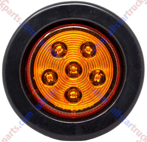 "2.5"" Inch Round 6 LED Amber Light Truck Trailer Side Marker Clearance Kit - All Star Truck Parts"