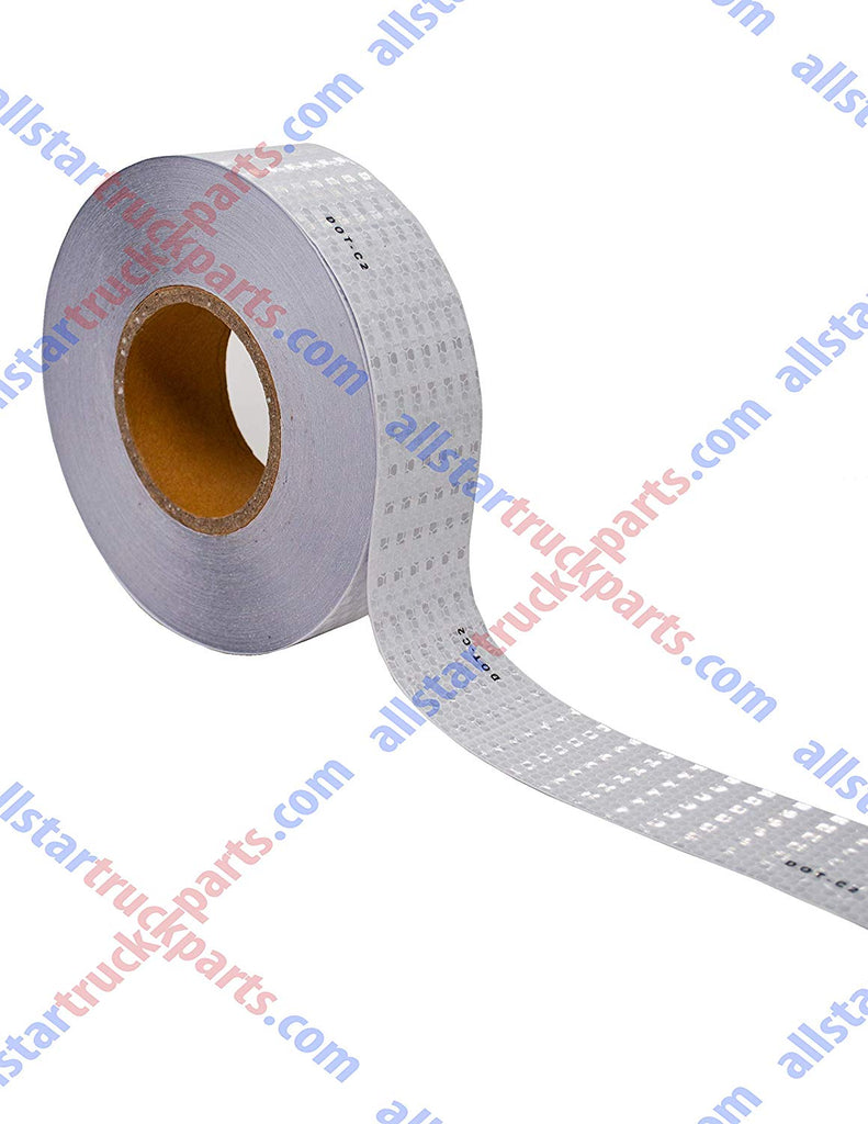 "White DOT-C2 Reflective Tape Conspiciuity Tape - COMMERCIAL ROLL, HIGH INTENSITY, STRONG ADHESIVE- 2"" inch x 150' FEET - Automobile Car Truck Boat Trailer Semi (White) - All Star Truck Parts"