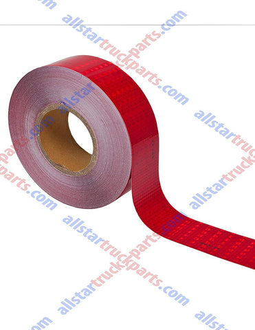 "Red Reflective Tape DOT-C2 Conspiciuity Tape - COMMERCIAL ROLL - 2"" inch x 150' FEET - Automobile Car Truck Boat Trailer Semi Night Visibility Construction Bicycle Racks Road Barriers Gates Doorways Walkways - All Star Truck Parts"