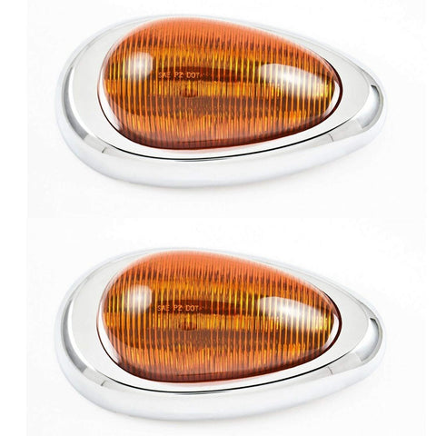 "Pair (Qty 2) 6"" Amber Sleeper Cab LED Side Marker/Turn Led Light Clearance For Freightliner Century/Columbia Surface Mount 15LED, Amber Oval Side Marker and Turn Signal Sealed - All Star Truck Parts"
