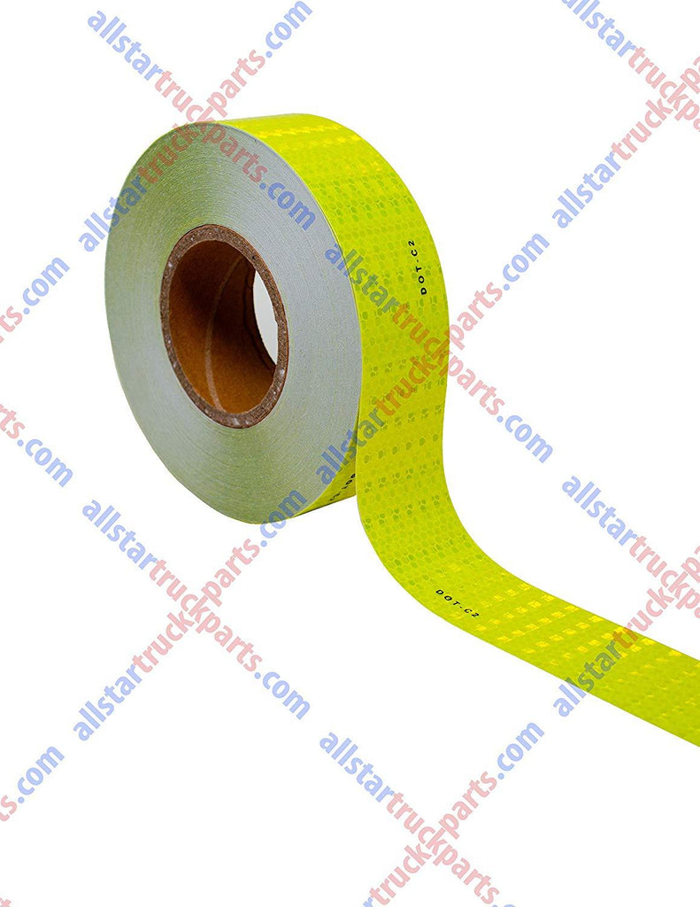 "Fluorescent Yellow Green DOT-C2 Reflective Tape Conspiciuity Tape - COMMERCIAL ROLL, HIGH INTENSITY, STRONG ADHESIVE- 2"" inch x 150' FEET - Automobile Car Truck Boat Trailer Semi - All Star Truck Parts"