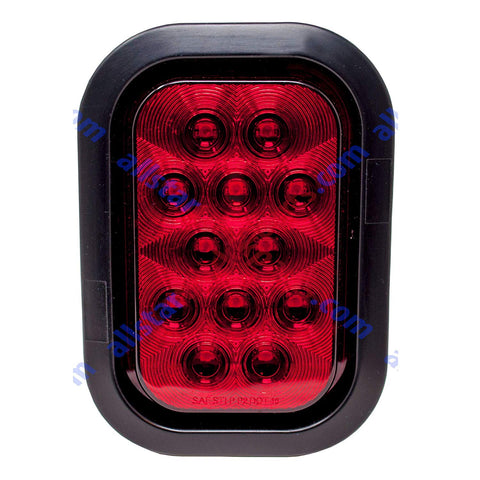 "5x3"" Red Rectangle 12 LED Stop/Turn/Tail Truck Light Grommet & Pigtail - All Star Truck Parts"