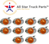 "[ALL STAR TRUCK PARTS] 10Pcs 3"" Amber Led Side Marker Lights 3 LED Chrome Surface Mount with Bullet Plugs Waterproof Peterbilt Kenworth Freightliner Volvo Led Cab Panel Sealed Surface Mount"